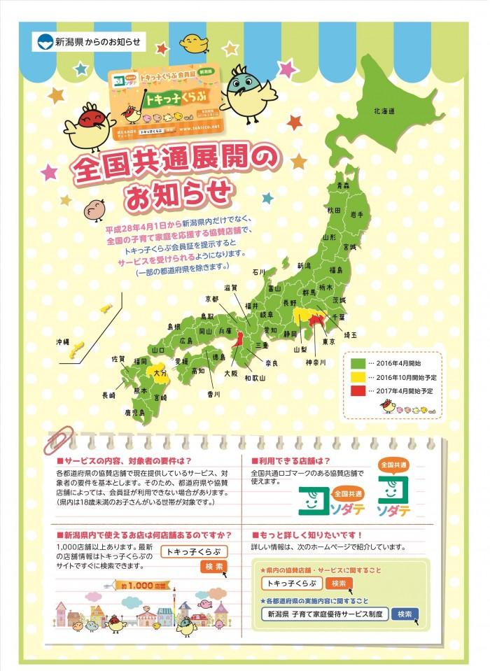 新潟県からのお知らせ全国統一カード