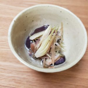 トキっ子食くーるみょうがと秋ナスの香り和え